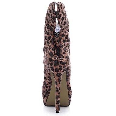El Hasta Y Fiesta Invierno Dedo Zapatos Vestido Botines amp;m De Marrón Mujer Terciopelo Heart Tobillo Botas Para Noche Redondo Moda Aw7BpxTq