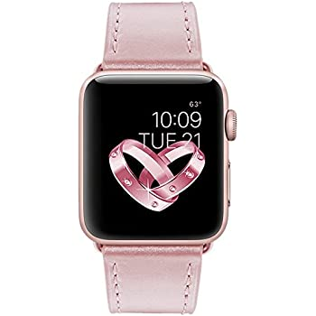 Apple Watch Band, Covery 38mm Genuine Leather iWatch Strap for Apple Watch Series 3 Series 2 Series 1 Sport & Edition Rose Gold