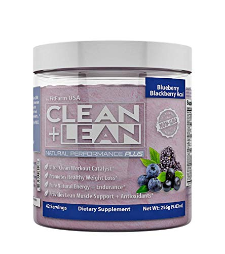 Clean Lean Natural Performance Plus by FitFarm USA Ultra-Clean Workout Catalyst Healthy Weight Loss Blend, Lean Muscle BCAA s, and Antioxidants- 100 Non-GMO 42 Svgs Blueberry BlackBerry Acai