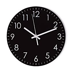 Epy Huts Modern Simple Wall Clock Indoor Non-Ticking Silent Quartz Quiet Sweep Movement Wall Clock for Office,Bathroom,Living Room Decorative 10 Inch Black