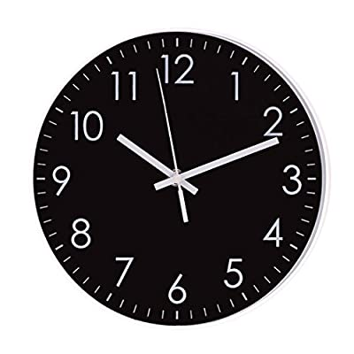 Epy Huts Modern Simple Wall Clock Indoor Non-Ticking Silent Quartz Quiet Sweep Movement Wall Clock for Office,Bathroom,Living Room Decorative 10 Inch Black - SIZE-This modern simple 10 inch round clock. CLEAR VIEW-The large numbers are clear to read and the front glass cover guarantees crystal - clear view. Contemporary style with black dial and white numbers also makes it easier to read. NON-TICKING MOVEMENT-To further enhance your experience the Quartz wall clock comes with silent sweep function which ensures no ticking to confirm a good sleep or relaxed working environment. - wall-clocks, living-room-decor, living-room - 41KKaoGETbL. SS400  -