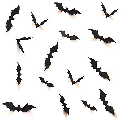 HOZZQ DIY Halloween Party Supplies PVC 3D Decorative Scary Bats Wall Decal Wall Sticker, Halloween Eve Decor Home Window Decoration Set, 28pcs, Black ()