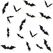 HOZZQ DIY Halloween Party Supplies PVC 3D Decorative Scary Bats Wall Decal Wall Sticker, Halloween Eve Decor H
