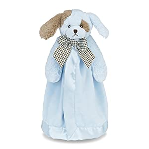 """Bearington Baby Waggles Snuggler, Plush Puppy Dog Security Blanket, Lovey (Blue) 15"""""""