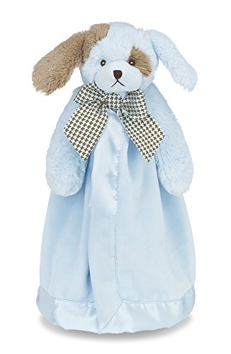 Bearington Baby Waggles Snuggler, Plush Puppy Dog Security Blanket, Lovey (Blue) 15""