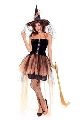 Witch Costume Women - Adult Hallow's Eve Orange Black Wicked Witch Costume