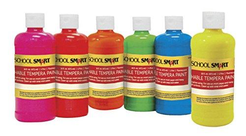 School Smart 1439240 Non-Toxic Washable Tempera Paint Set, 1-Pint Plastic Bottle, Assorted Fluorescent Color (Pack of 6) by School Smart