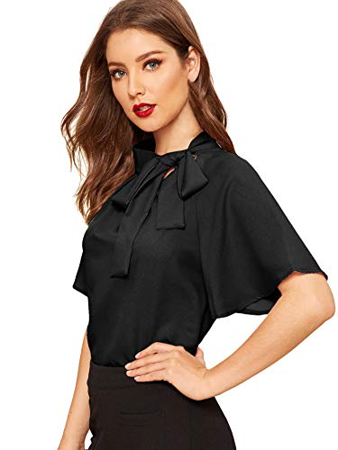 SheIn Women's Casual Side Bow Tie Neck Short Sleeve Blouse Shirt Top Large Black
