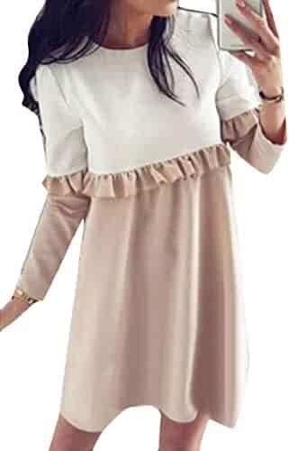 Sweatwater Womens Casual Round-Neck Ruffled Color Block Long Sleeve Stylish  Dress 18c95a127
