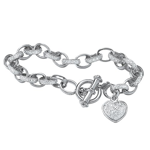 White Diamond Accent Platinum-Plated Rolo-Link Toggle Bracelet (Precious Accents Toggle Clasps)