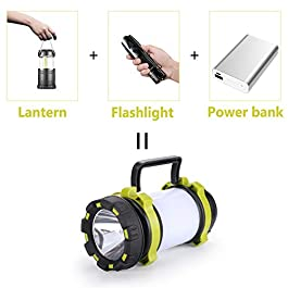 AlpsWolf Camping Lantern Rechargeable, Camping Flashlight 4000mAh Power Bank,4 Modes,IPX4 Waterproof,Led Lantern Camping,Hiking,Outdoor Recreations,USB Charging Cable Included Green