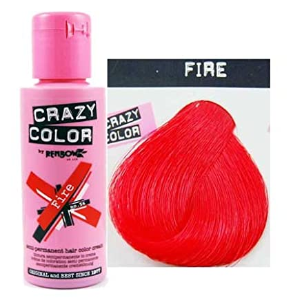 Crazy Colour Semi Permanent Hair Dye By Renbow Fire No.56 (100ml) Box of 4