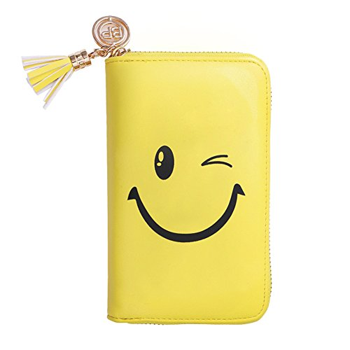 BORN PRETTY 24 Slots Nail Stamping Plate Holder Case Round Square Rectangular Nail Art Template Storage Organizer Smiling Face Print Bag Holder (Yellow)