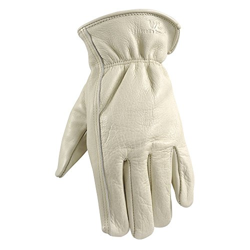 Leather Work Gloves with Reinforced Palm, DIY, Yardwork, Construction, Motorcycle, Large (Wells Lamont 1130L)