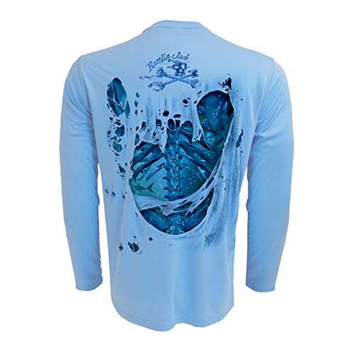 Rattlin Jack Men's UPF 50+ Fishing Skeleton Performance Sleeve L Water on Blue]()
