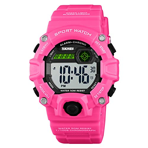 Girls LED Sport Digital Watch,Waterproof Electronic Casual Military Wrist Kids Sports Watch with Silicone Band Luminous Alarm Stopwatch Red Watches