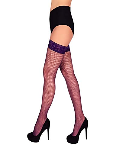 Fishnet Thigh High Stay up Stockings Silicone Top (Purple, S) -