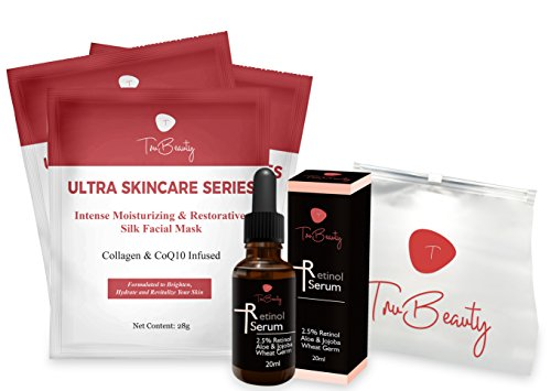 Collagen Sheet Mask With Firming Retinol Serum & Makeup Bag | Restorative CoQ10 Infused Collagen Mask & Aloe & Jojoba Serum To Reduce The Appearance Of Fine Lines,Sagging Skin,Dark Spots & Wrinkles