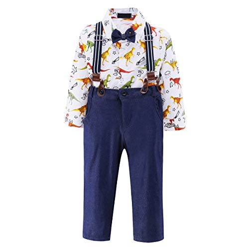 Baby Boy's Suit Clothing Set 4Pcs Toddler Outfit Shirt & Pants & Straps & Bowtie, White, 3T(24-36 Month) - Print Back Tie Baby Doll