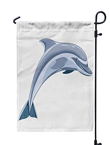 Shorping Welcome Garden Flag, 12x18Inch Blue Dolphin Transparent Background for Holiday and Seasonal Double-Sided Printing Yards Flags
