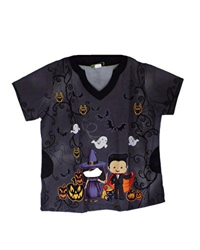 TLC Nurse Scrub Halloween Dracula & Witch (Medium) (Halloween Nurse Scrubs)