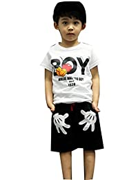 Baby Boys T-shirt Tops Red Pants Outfits Sets Casual 2pcs Summer