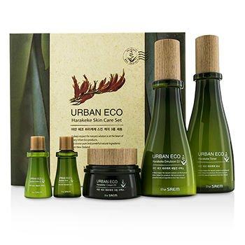 the SAEM Urban ECO Harakeke Skincare Set Toner 180ml Emulsion EX 140ml Cream EX 60ml Toner 20ml Emulsion EX 20ml 5pcs