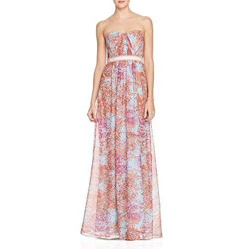 BCBG Max Azria Womens Amber Belted Maxi Evening Dress Blue 0 ()