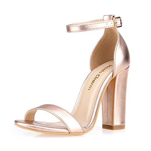 Women's Strappy Chunky Block Sandals Ankle Strap Open Toe High Heel for Dress Wedding Party Evening Office Shoes Sandals Rose Gold Size 8.5 (Open Toe Dress Heel)