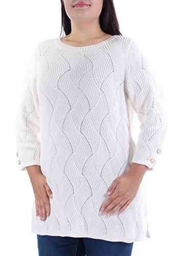 Charter Club Ivory Geometric Jewel Neck 3/4 Sleeve Sweater OX ()