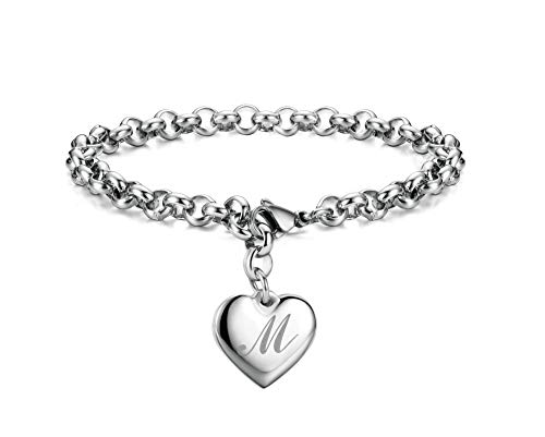 Monily Initial Charm Bracelets Stainless Steel Heart Letters M Alphabet Bracelet for Women