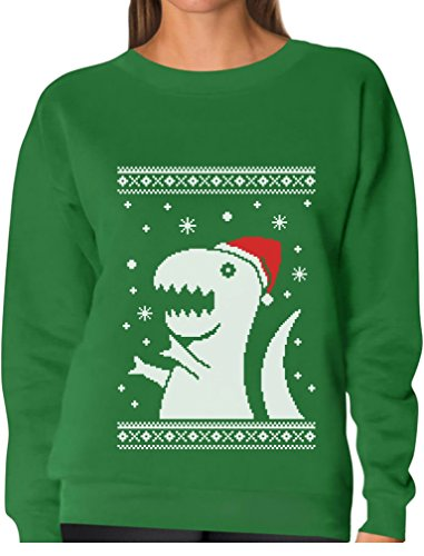 Big Trex Santa Ugly Christmas Sweater - Funny Xmas Women Sweatshirt Medium Green