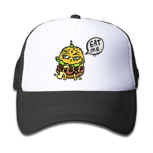 Burger King Halloween Costume (Joijiouio Eat This Burger Youth Sun Protection UnisexAdjustable Mesh Back Cap Black)
