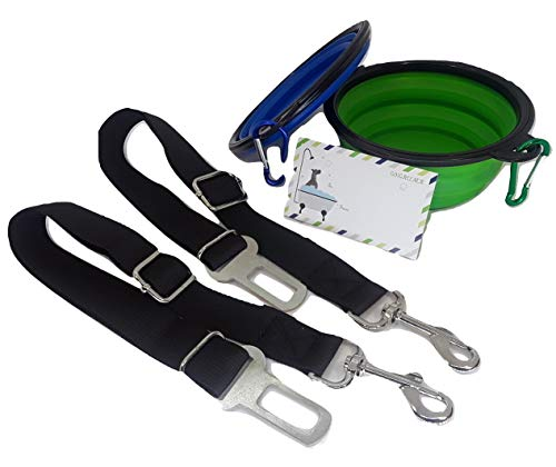 Go1Greener Collapsible Dog Bowls - Food Grade Gift Set + Seatbelt Harness Bundle for Travel by Go1Greener
