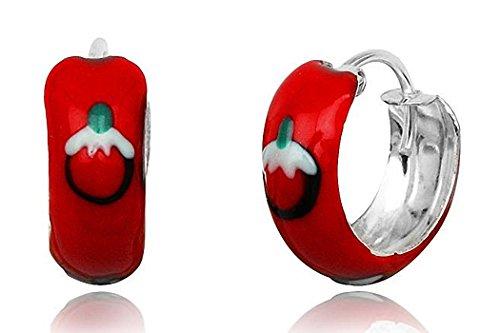 JAYARE® Boucles d'Oreilles Enfant Créoles 15 mm rouge Argent 925/1000 et émail avec étui