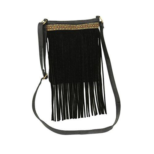 Black Boho Vegan Leather Crossbody, Aztec Accent w/ Faux Suede Fringe Purse - Suede Utility Bag