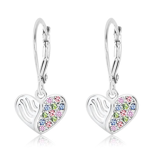 Premium 9MM Crystal with White Enamel Heart Leverback Kids Baby Girl Earrings With Swarovski Elements By Chanteur – 925 Sterling, White Gold Tone – Perfect Gift For Children (Childrens Leverback Earrings Heart)