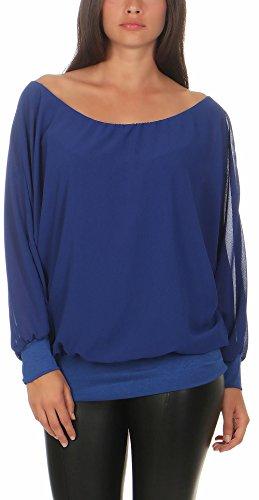 Malito Damen Chiffon Langarm Bluse | Tunika mit weiten Ärmeln | Blusenshirt mit breitem Bund | elegant - schick 6291