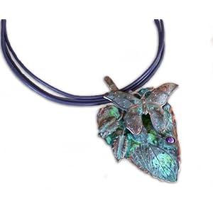 Elaine Coyne Patina Butterfly on Leaf Pendant - Charoite 34