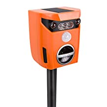 VENSMILE Ultrasonic Solar Cat Repellent 4 in 1 Smart Motion Activated Outdoor Dog Wide Animals Repeller Deterrent with Flashing LED Light Scare Away Raccoon Deer Birds and Waterproof (Orange)