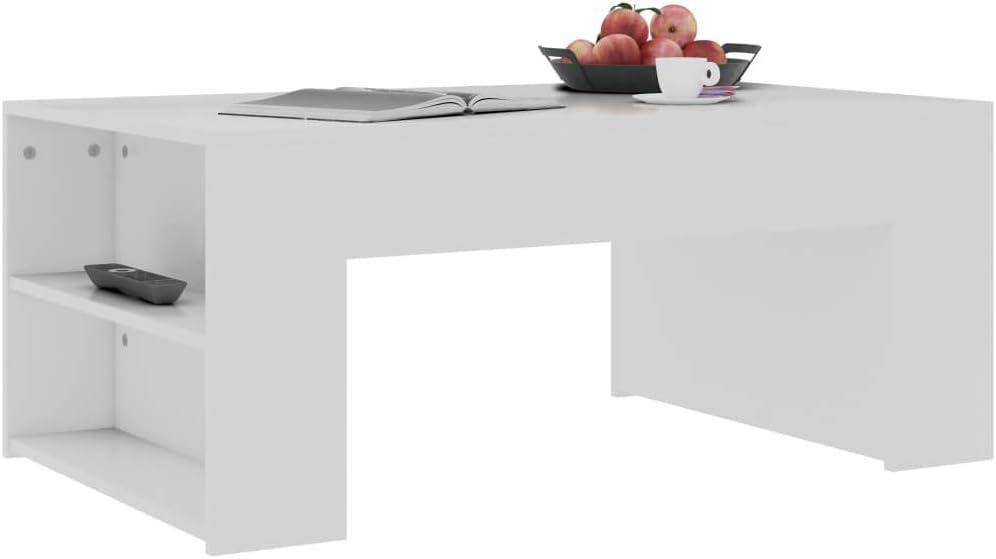 Boodschappen Doen Tidyard Salontafel spaanplaat banktafel elegant einde bijzettafel woonkamer, huis meubels 100 x 60 x 42 cm (L x B x H) wit N0yTjdm