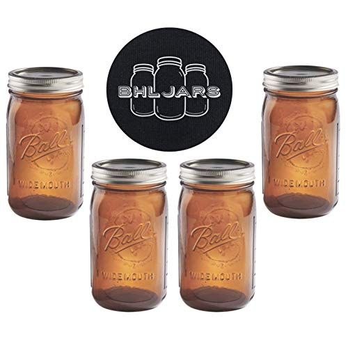 - Ball Mason Jars 32 oz Wide Mouth Amber Colored Glass Bundle with Non Slip Jar Opener- Set of 4 Quart Size Mason Jars - Canning Glass Jars with Lids