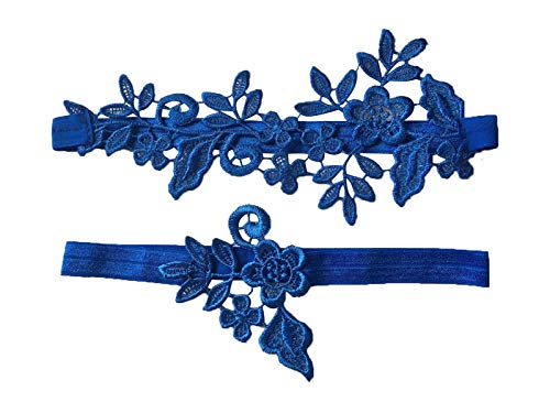 YuRongsxt Wedding Floral Garter Set Bridal Leaf Garter Bridal Garter Set G12 (Royal blue)
