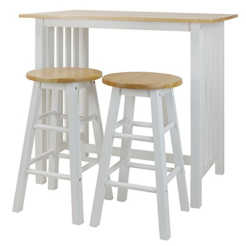 Casual Home 3-Piece Breakfast Set with Solid American Hardwood Top, White by Casual Home (Image #3)