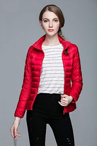 De Pelo Xyl Con Para Rojo Mujer Home Chaqueta Cuello Plumón Largo Delgada zzqBwZETF