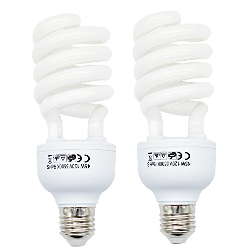 Foto&Tech 45 Watt Daylight Fluorescent Photography Spiral Light Bulb 5500K 110V White for Photography and Video Studio Lighting (2 Pack)