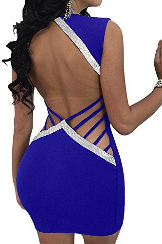 Club Vestido Vendaje De Escote Hacia Mujeres Fuera Con Hueco Bodycon V Profundo Espalda Lentejuelas De Del La Cuello En Las En Azul Mini 1qwxvOO