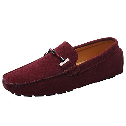 Burgundy Suede Shoes - Jamron Mens Elegant Buckle Loafers Comfort Suede Driving Shoes Stylish Moccasin Slippers Burgundy SN19020 US12
