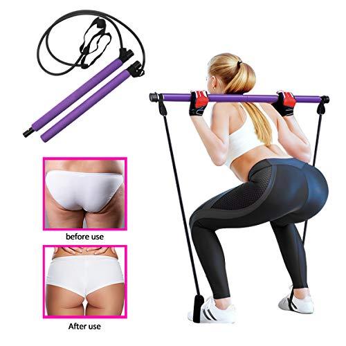 KETIEE Kit de Barre de Pilates Portable avec Bande de résistance Barre d'exercice de Yoga avec Boucle de Pied…