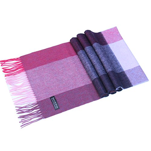 Cashmere Plaid Scarf (Saferin Women Men Cashmere and Wool Plaid Warm Soft Scarf with Gift Box (HYX-Purple Plaid))